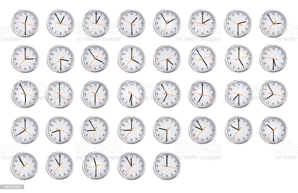 Clocks shows the time from an hour to twelve stock photo