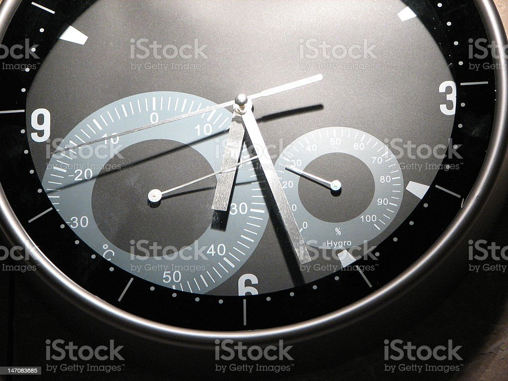 Clock/thermometer/barometer stock photo