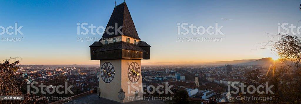 clocktower graz stock photo