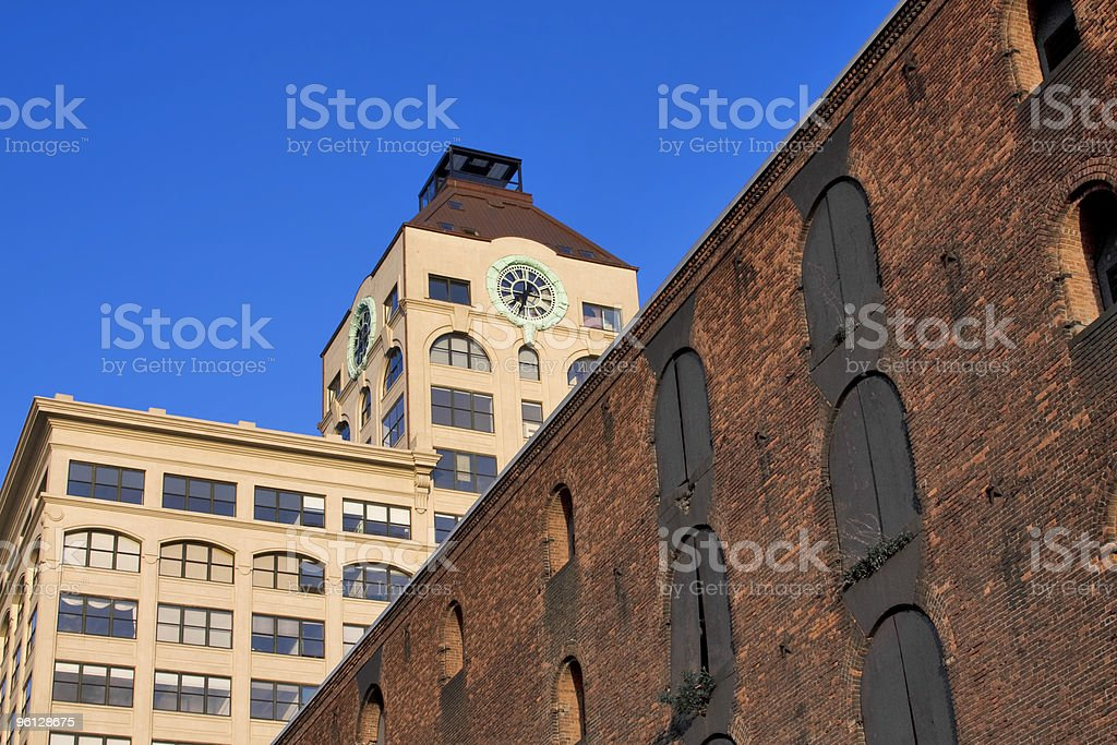Clocktower In Dumbo with Blue Sky stock photo