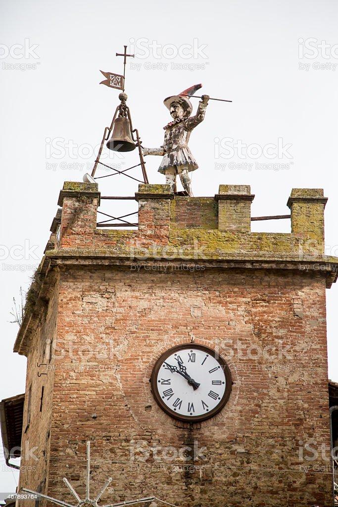 Clock-tower in Montepulciano, Tuscany stock photo