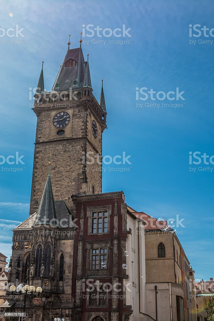 Clocktower in Old town square Prague stock photo