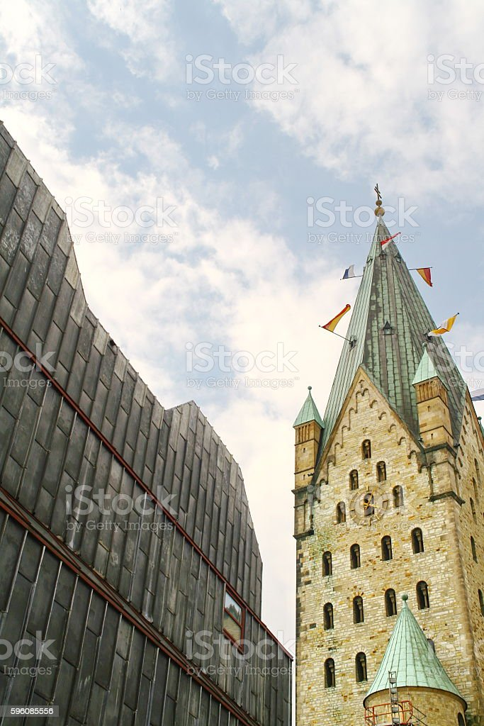 clocktower of the cathedral and diocesanmuseum in Paderborn, Germany royalty-free stock photo