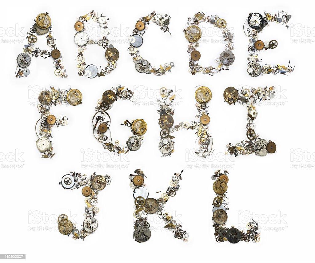 Clockwork Alphabet A-L royalty-free stock photo