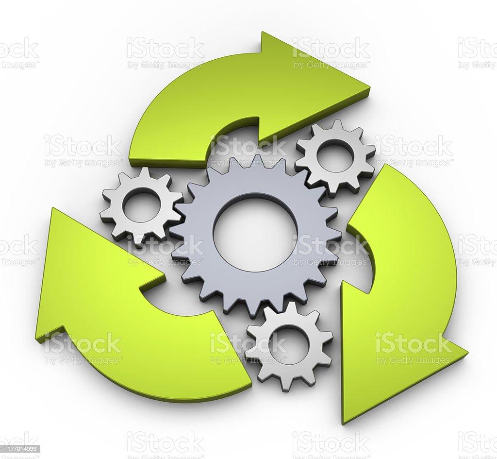 Clockwork diagram showcasing an infinite cycle stock photo