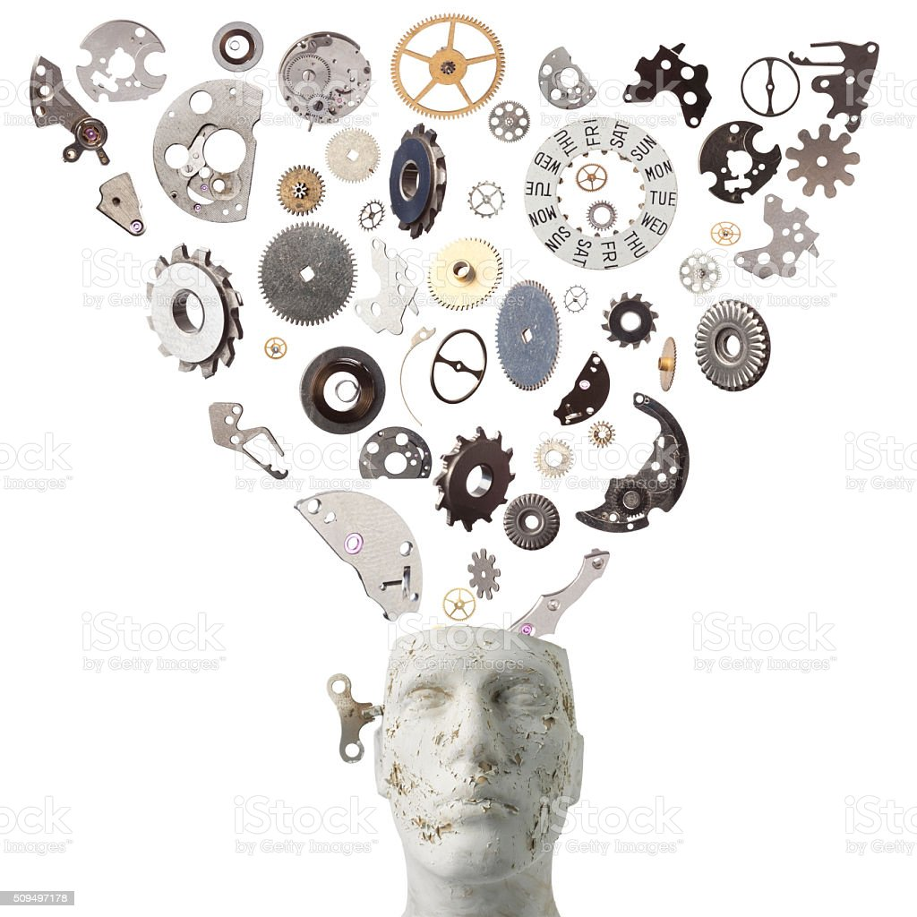 Clockwork Gears And Parts Flying Falling Into Mannequin Head stock photo