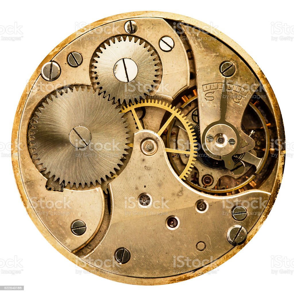 clockwork old mechanical pocket watch stock photo