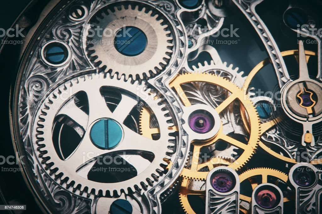 Clockwork: the inner mechanism of a watch stock photo