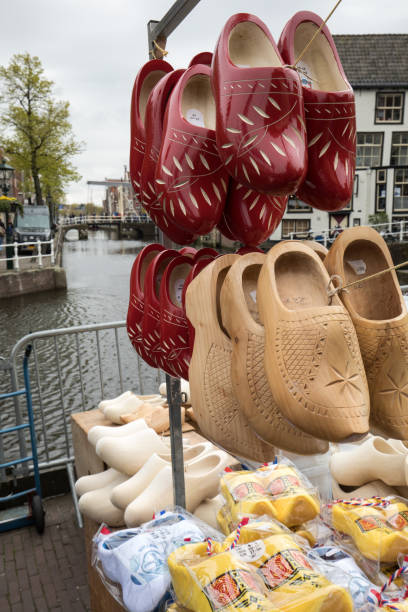 Clogs for sale at the Alkmaar cheese market, Netherlands stock photo
