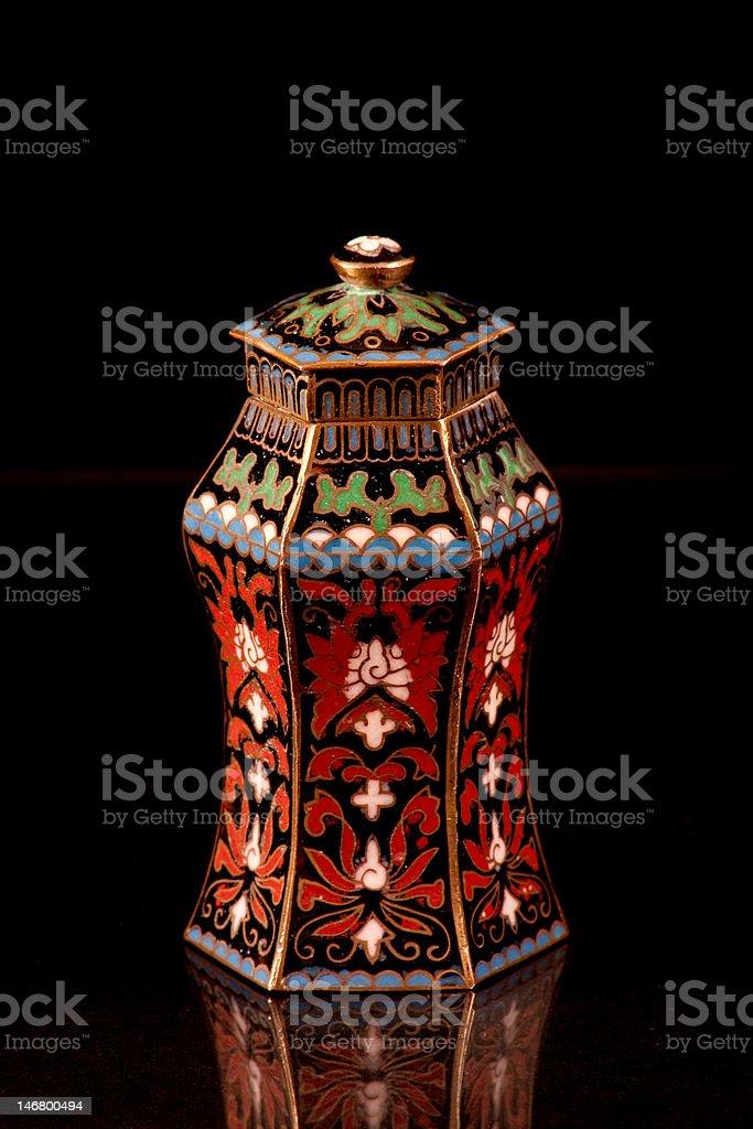 Cloisonne jar stock photo