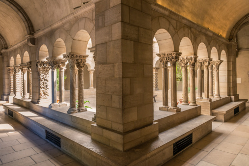 Cloister arch perspective in The Cloisters of New York City.
