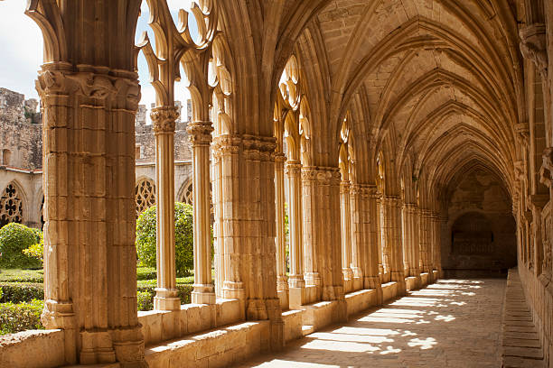 Cloister corridor Cloister corridor of Santes Creus Monastery,Tarragona,Catalonia,Spain. abbey monastery stock pictures, royalty-free photos & images