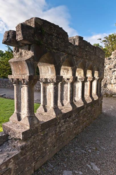 Cloister Fragment, Cong Abby, County Mayo, Ireland stock photo