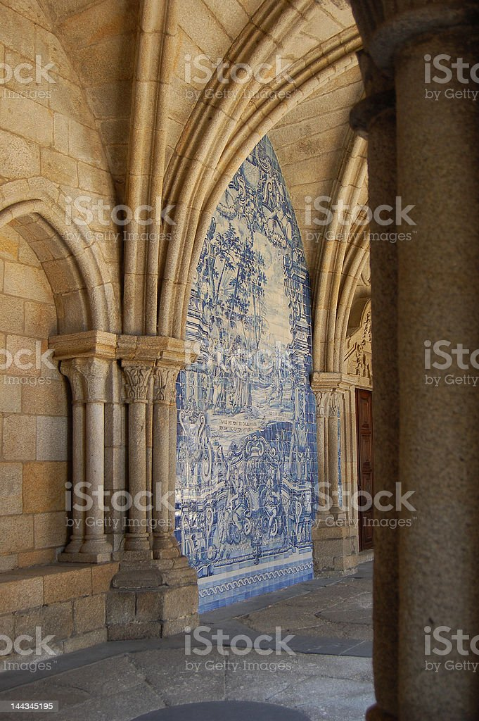 Cloister gallery of Se Cathedral in Porto, Portugal royalty-free stock photo