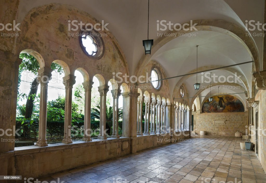 Cloister in Franciscan Monastery in Dubrovnik, Croatia stock photo