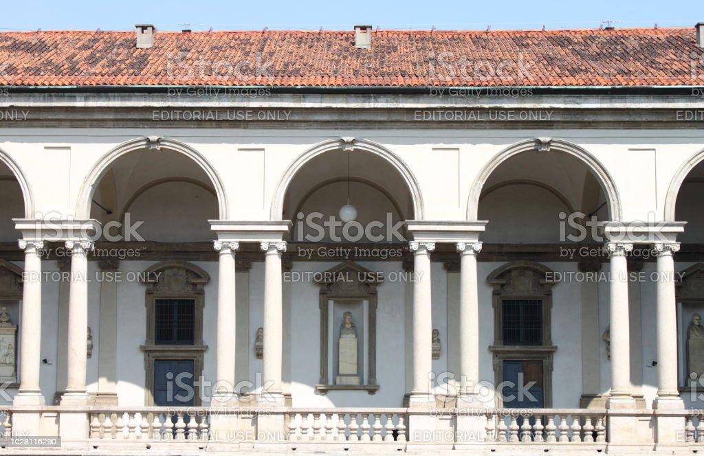 Cloister in the renaissance Brera Palace - foto stock