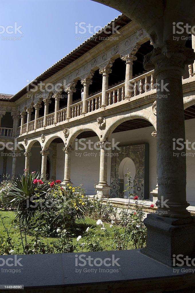 Cloister of entrance in Las Dueñas convent. Salamanca, Spain stock photo