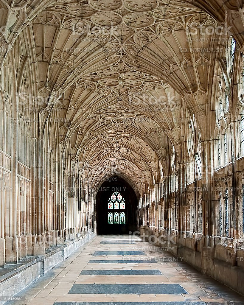 Gloucester, UK - August 17, 2011: Cloister of Gloucester Cathedral stock photo