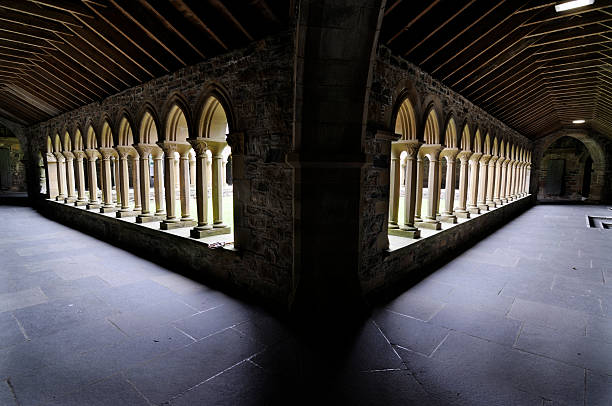 Cloister of Iona Abbey  abbey monastery stock pictures, royalty-free photos & images