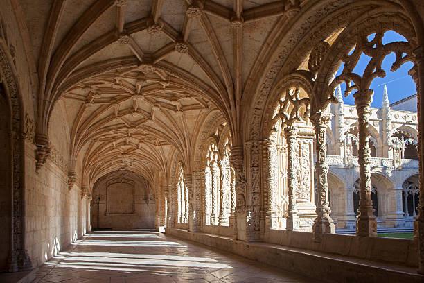 Cloister of Jeronimos Monastery, Belem, Lisbon, Portugal stock photo