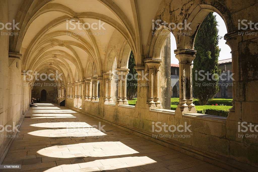 Cloister of King Afonso V Batalha Abbey in Portugal stock photo