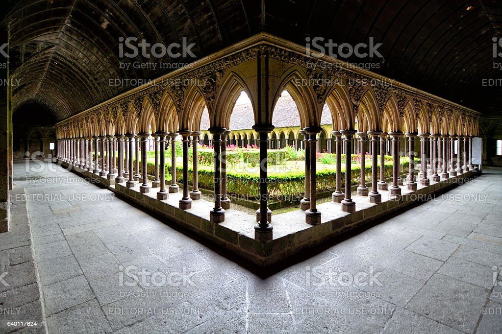 Cloister of Mont Saint-Michel, France stock photo