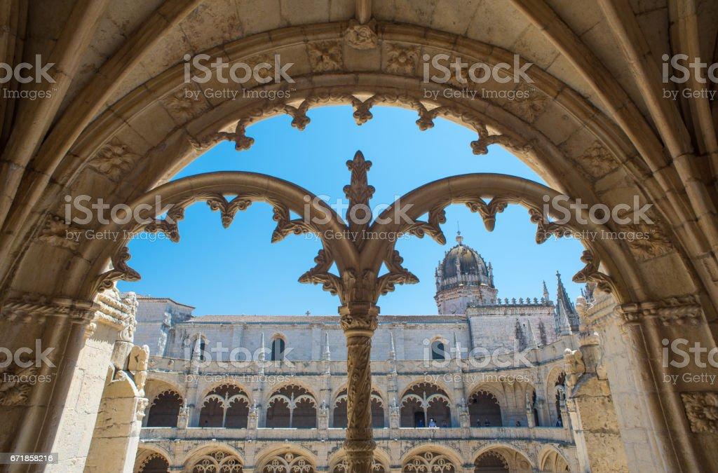Cloister of Mosteiro dos Jerónimos in Lisbon, Portugal stock photo