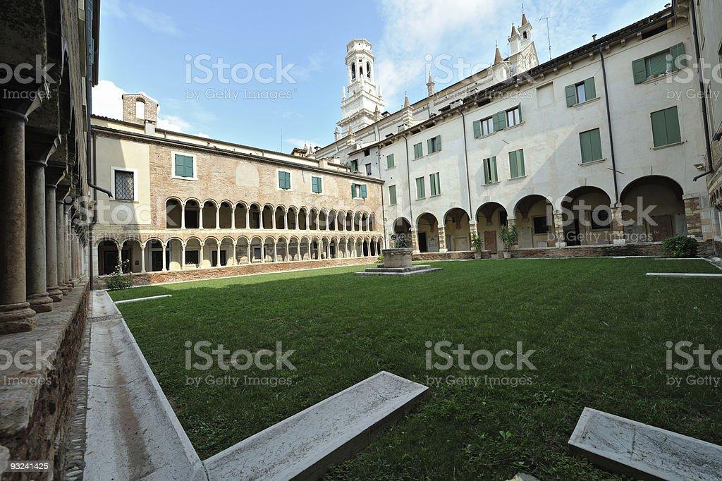 Cloister of Romanesque Cathedral Santa Maria Matricolare, Verona, Italy royalty-free stock photo