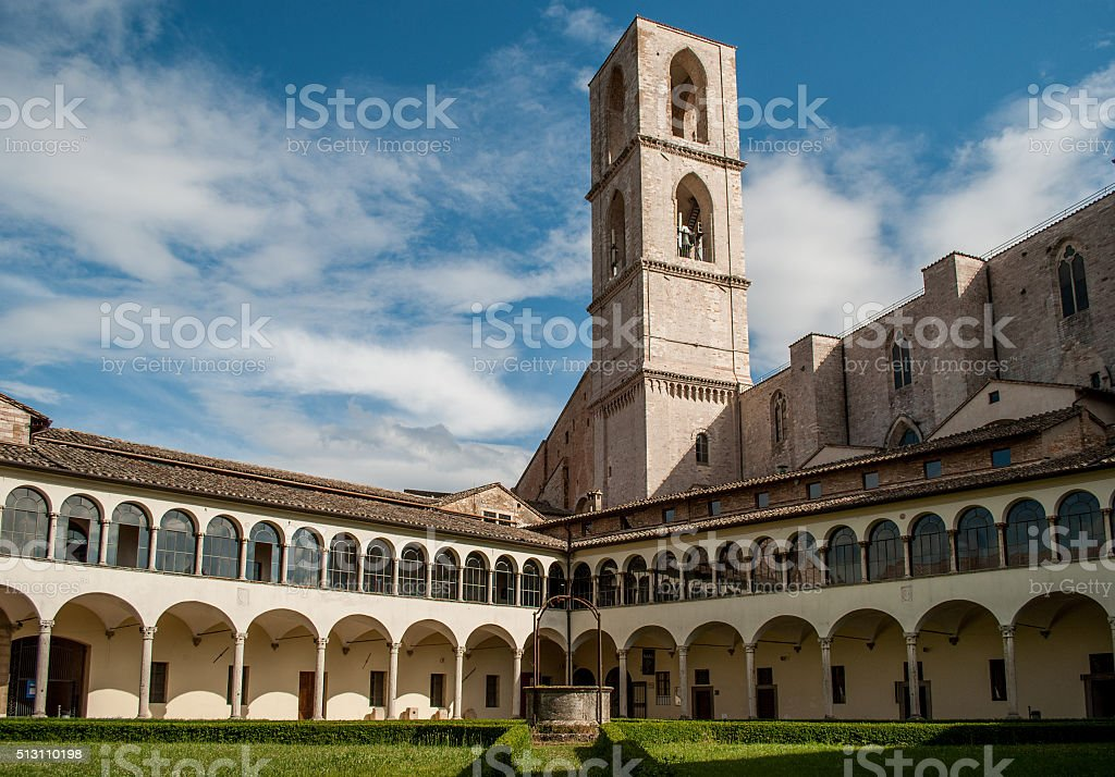 Cloister of San Domenico, Perugia, Italy. Horizontal stock photo