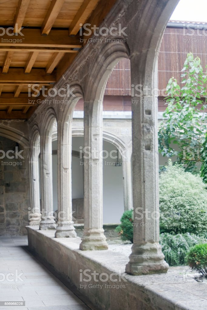 Cloister of Santa María a Nova church, Noia, A Coruna, Galicia, Spain. stock photo
