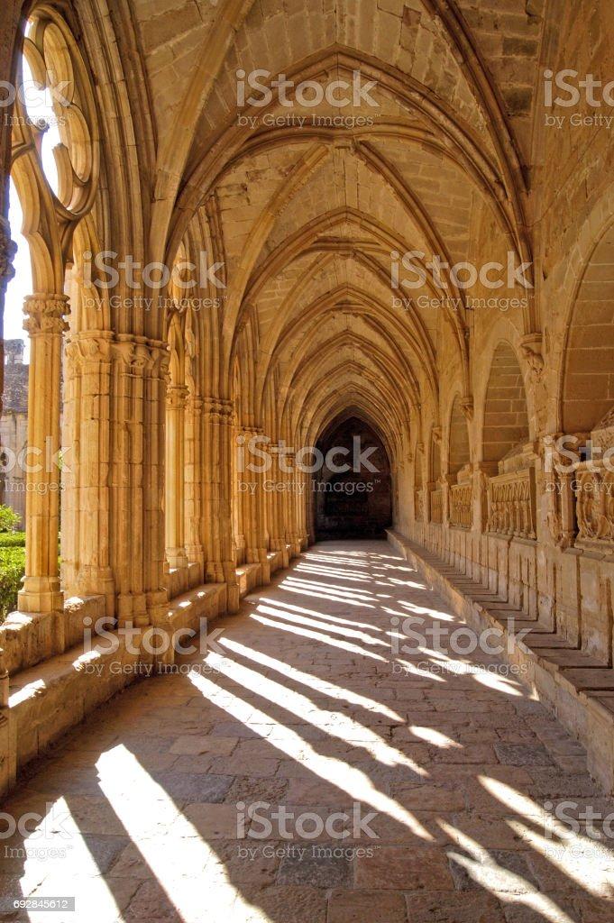 Cloister of Santes Creus in Tarragona province, Catalonia, Spain stock photo