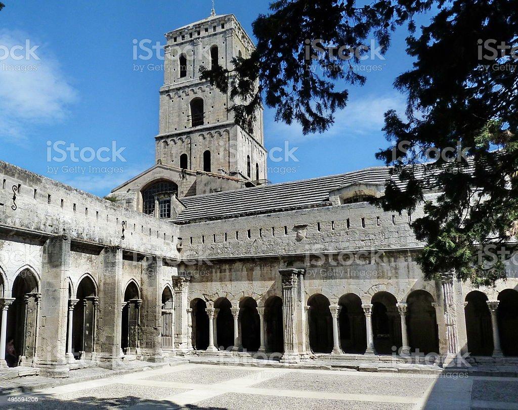 Cloister of the church of Saint Trophime, Arles, France stock photo