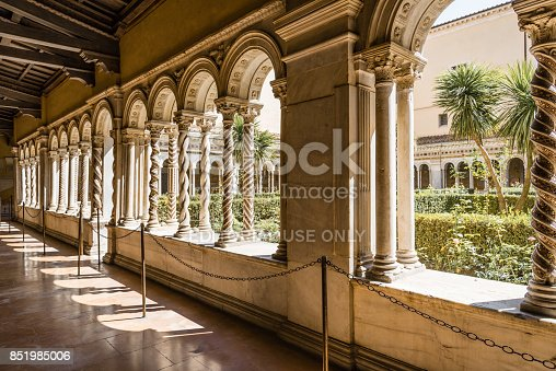 Rome, Italy - August 21, 2016: Cloister of the Papal Basilica of St. Paul outside the Walls . It is one of Rome's four  major basilicas.