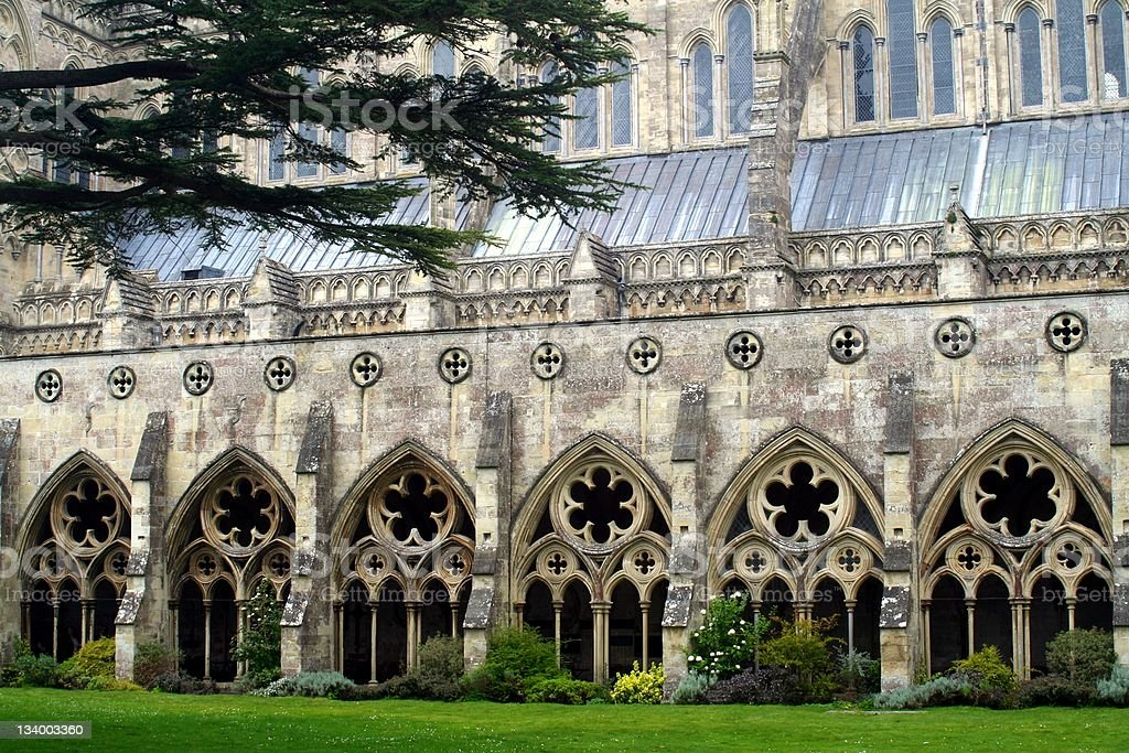 Cloister of the Salisbury Cathedral stock photo