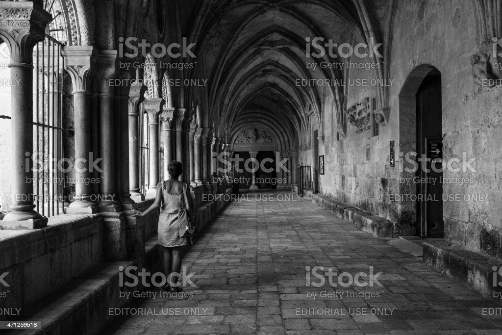 Cloister Tarragona cathedral stock photo