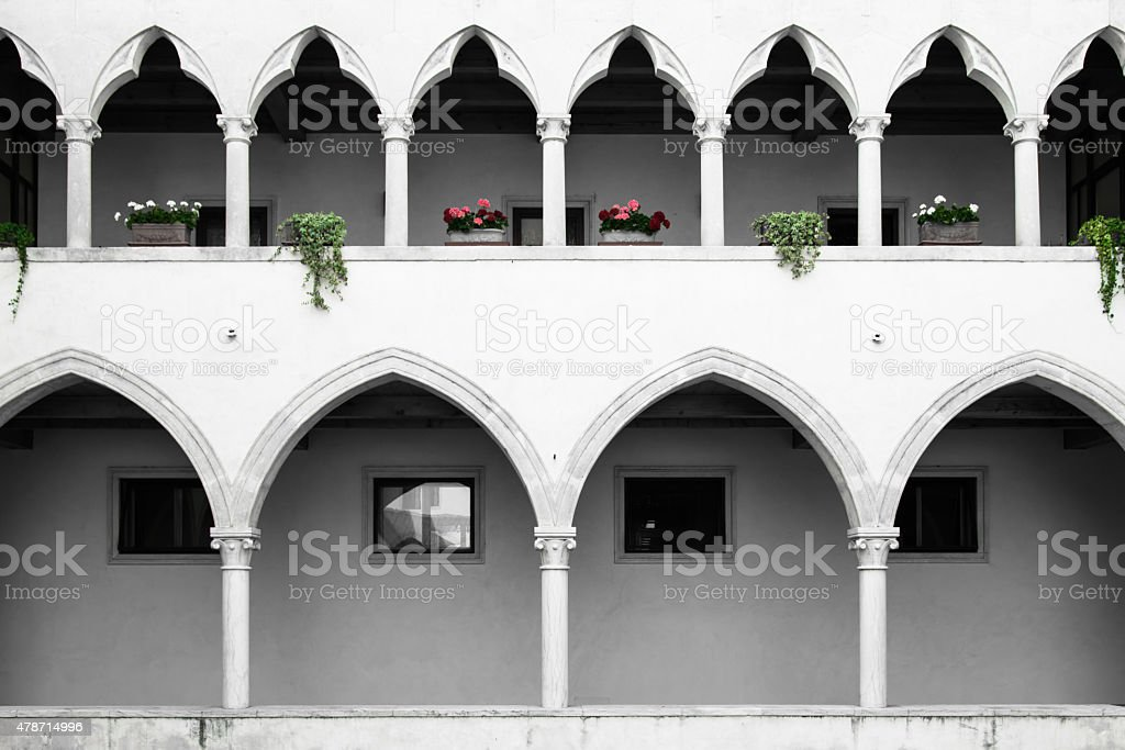 cloister with Gothic arches and  columns. stock photo