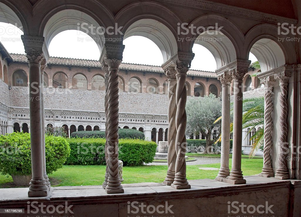 Cloisters in a Large Rome Basilica royalty-free stock photo