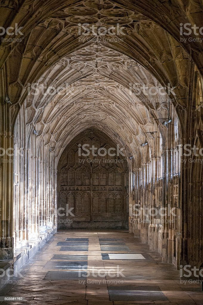 Cloisters In Gloucester Cathedral, United Kingdom stock photo