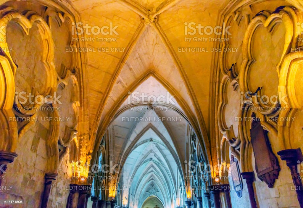 Cloisters Interior Arches Westminster Abbey London England stock photo