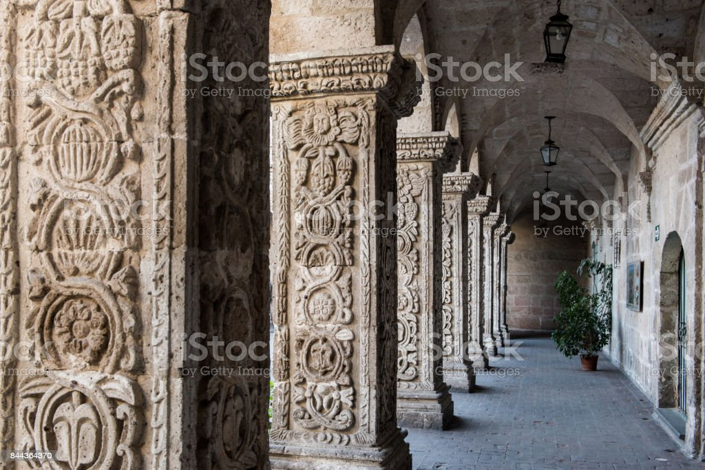 Cloisters of the Company in Arequipa, Peru stock photo