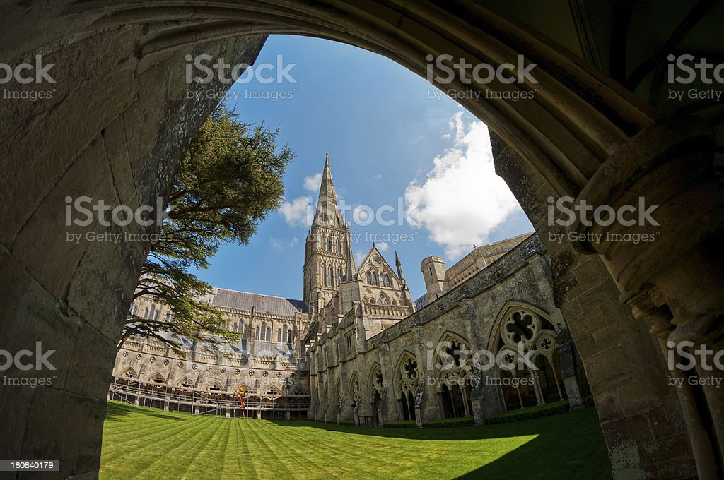 Cloisters, Salisbury Cathedral, Wiltshire, UK royalty-free stock photo