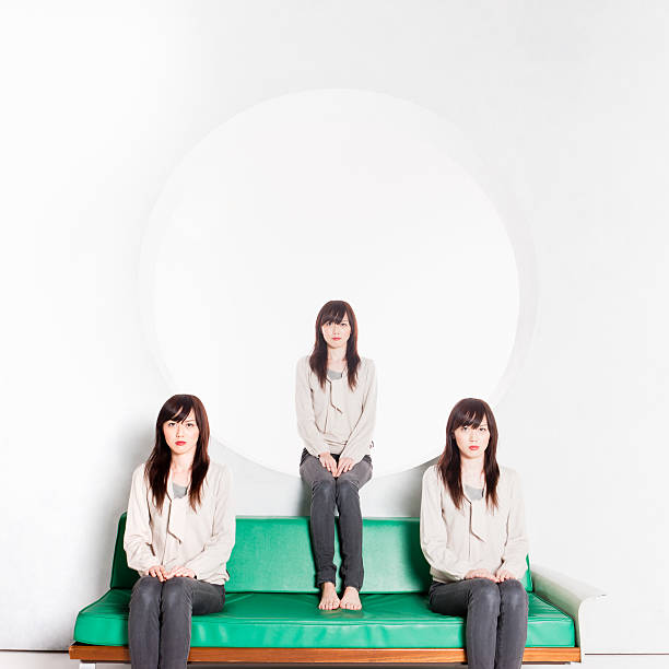 clone triplets japanese women portrait - triplets stock photos and pictures