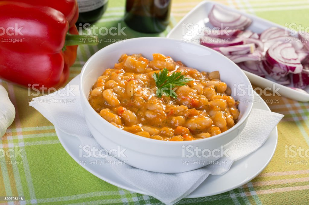 clopse up of cooked beans with ingredients stock photo