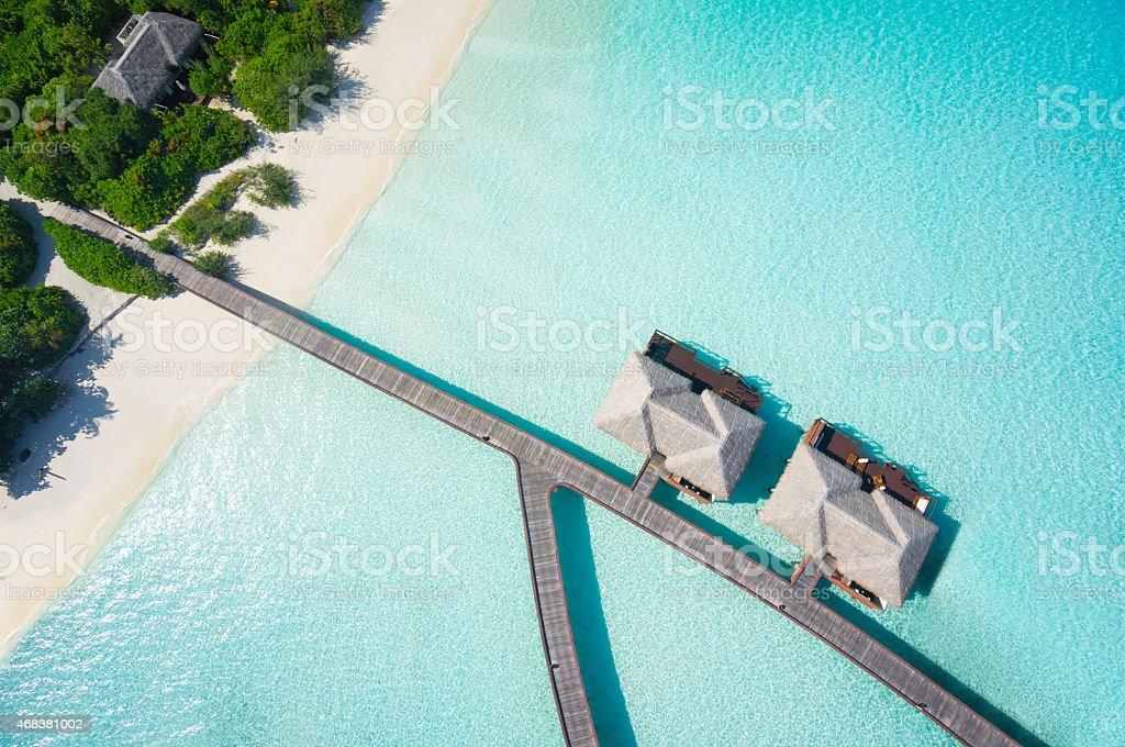 close aerial of tropical resort stock photo