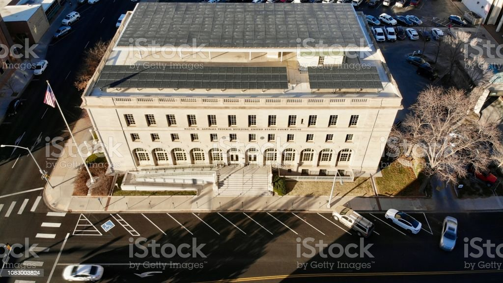 Close Aerial View of Small Town Federal Building stock photo