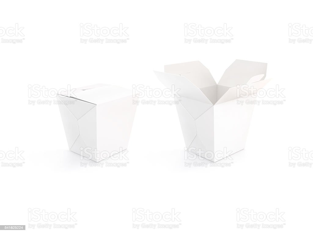 Close and open blank wok box mockup stand isolated, 3d stock photo
