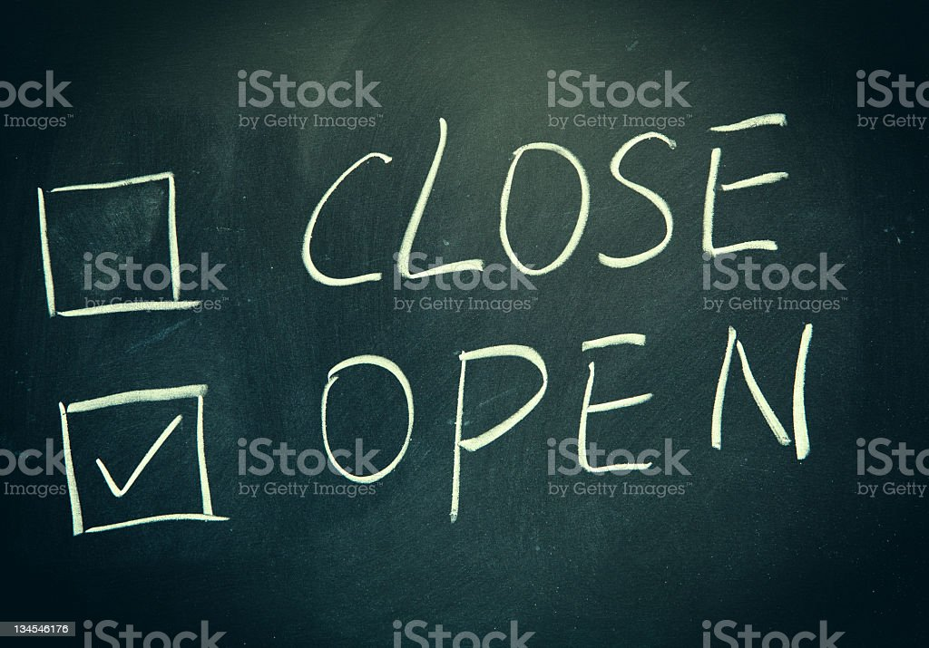 close and open check boxes written on a blackboard. royalty-free stock photo