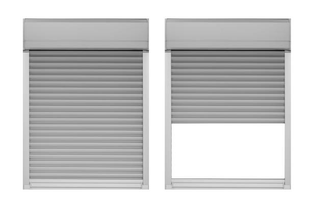 Close and open window shutter isolated on white background stock photo