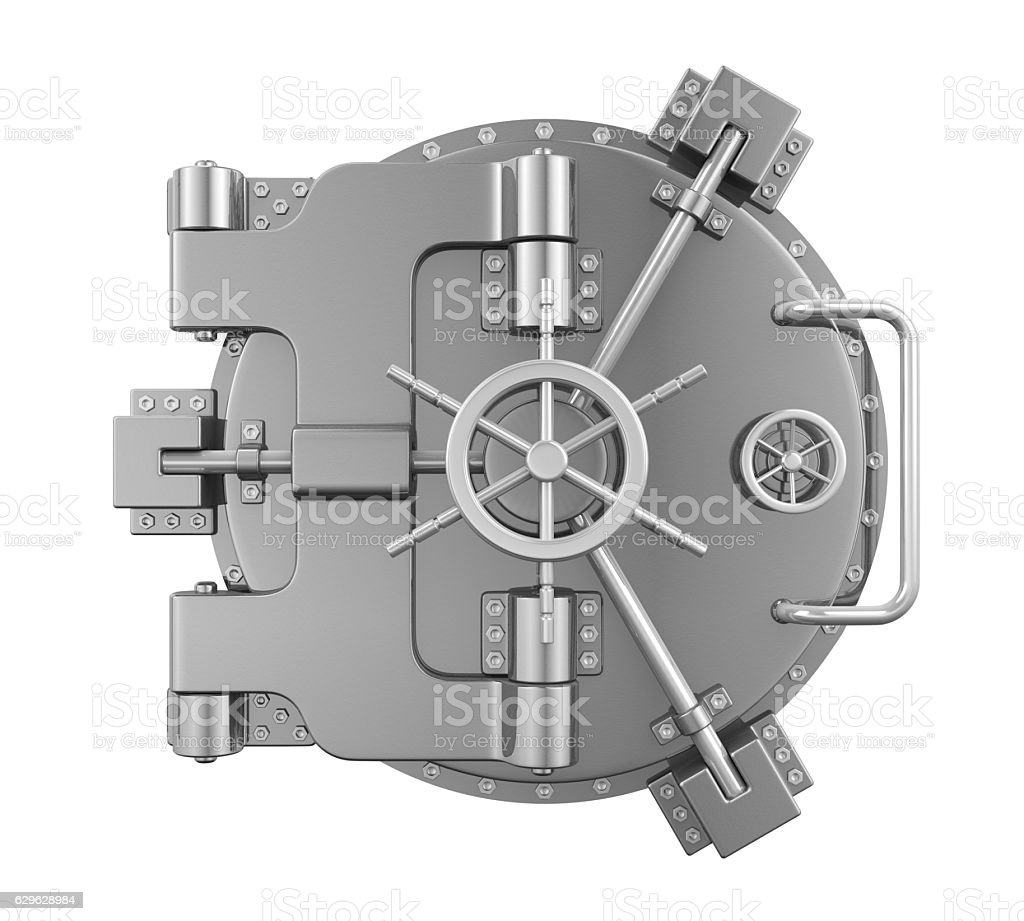 Close Bank Vault Door stock photo