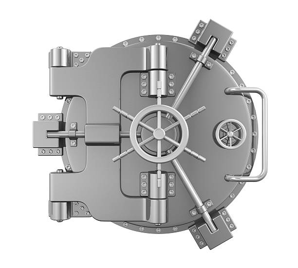 close bank vault door - coffre fort équipement de sécurité photos et images de collection